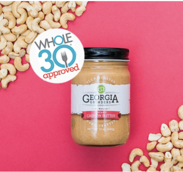 cashew butter jar with whole 30 logo
