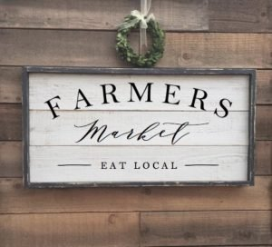 Framed Shiplap Wood Farmers Market Sign