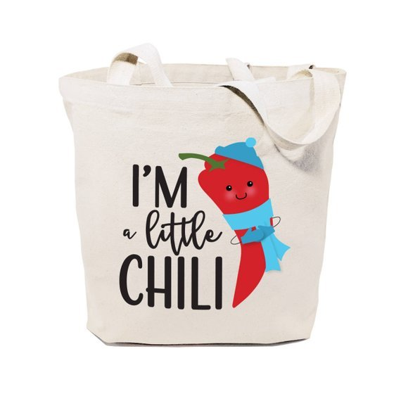 tote bag with image of chili that says i'm a little chili