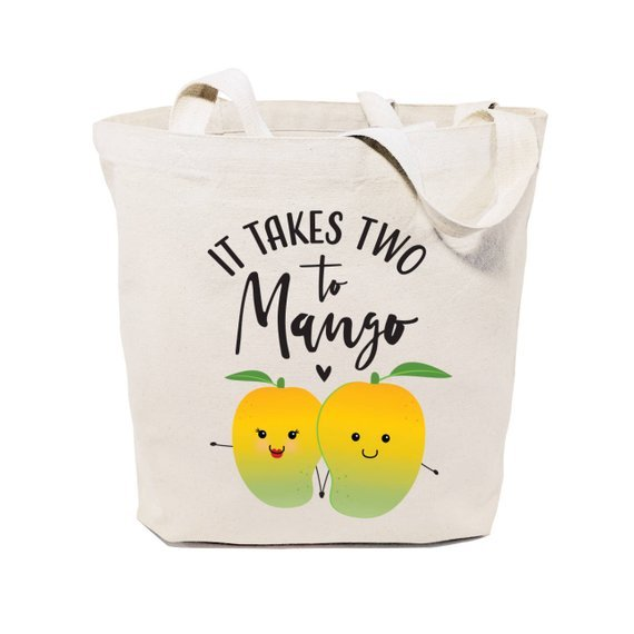 canvas grocery bag of two mangos with phrase it takes two to mango