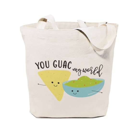 tote bag that says your guac my world with cartoon of chips and guac