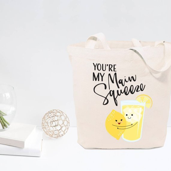 tote bag with lemon holding lemonade saying you're my main squeeze