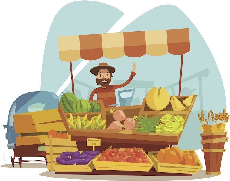cartoon farm stand with farmer waving