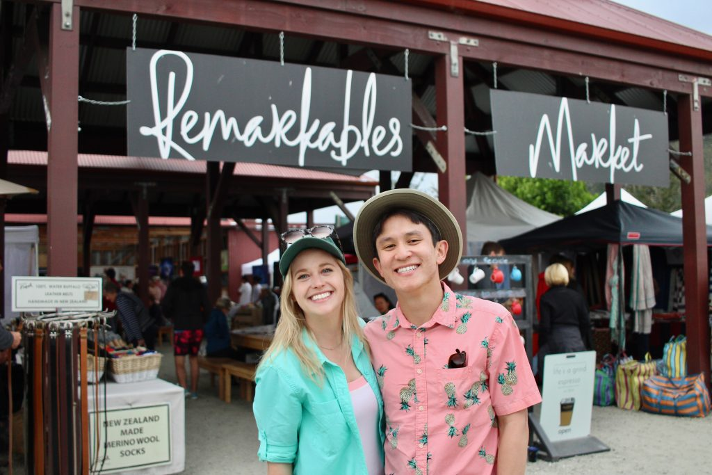 Chelsea & Chris in front of Remarkables Market