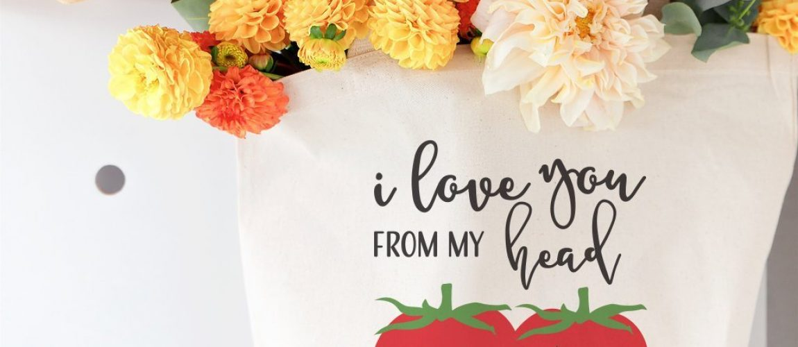I love you from my head tomatoes large image tote bag