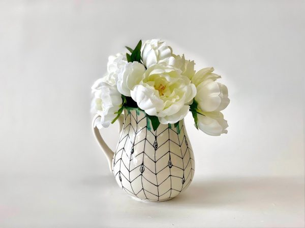 chevron flower vase filled with flowers