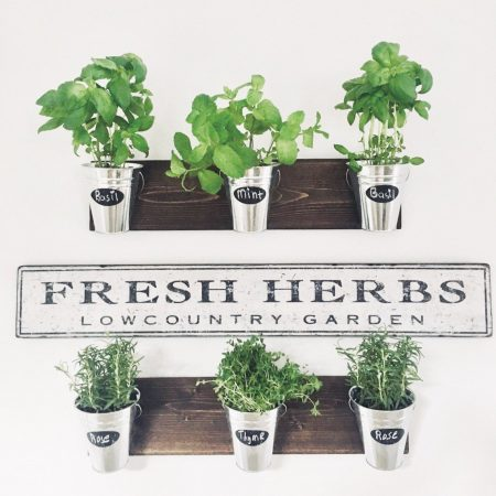 horizontal herb planters with chalk label